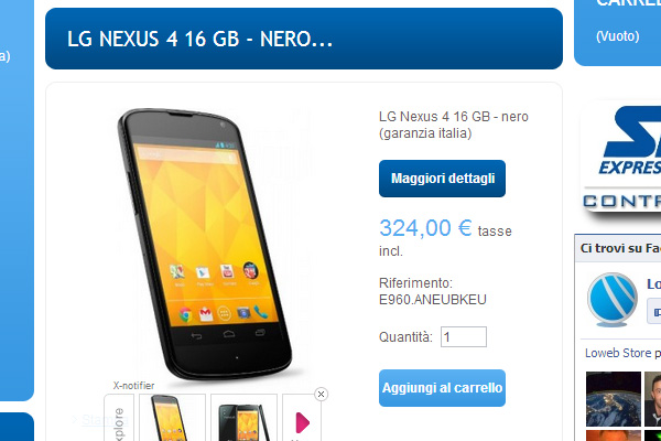Nexus-4 in offerta da Loweb