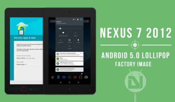 Android Lollipop su Nexus 7