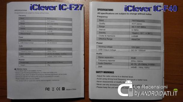 iClever IC-F27 e IC-F40 - Manuali con specifiche Tecniche