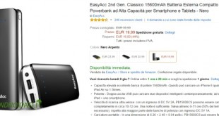Offerta Amazon EasyAcc Powerbank 15600mAh