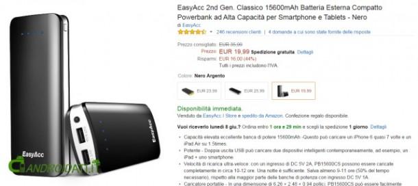 Offerta Amazon EasyAcc Powerbank 15600mAh