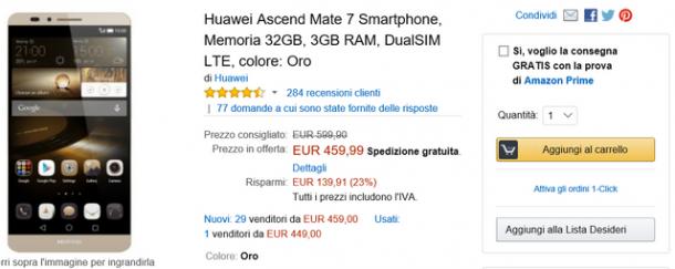 Huawei Mate 7 Gold - offerta Amazon