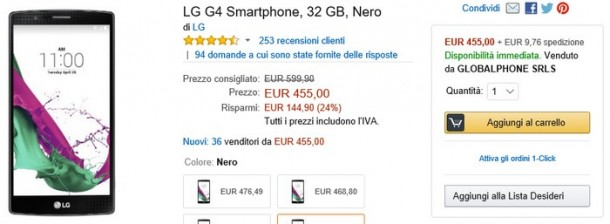 Offerta Amazon Lg G4 32gb