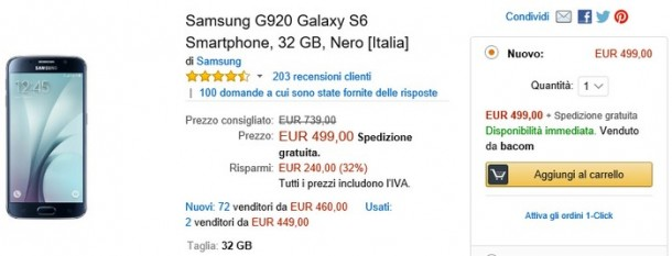 Offerta Amazon Samsung G920 Galaxy S6