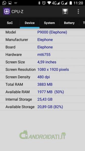 Elephone P9000: Scheda Tecnica