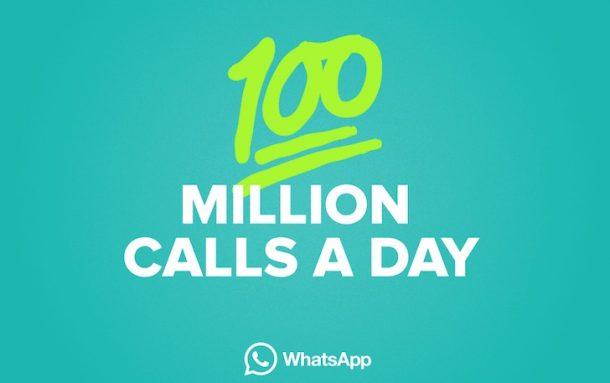 WhatsApp raggiunge 100 milioni di telefonate al giorno