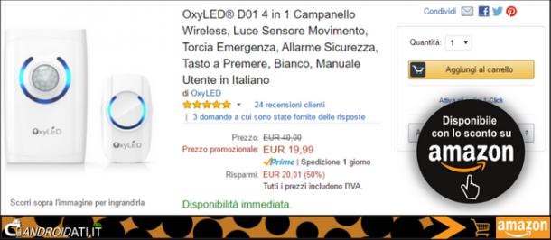 OxyLED D01: Prezzo promozionale Amazon