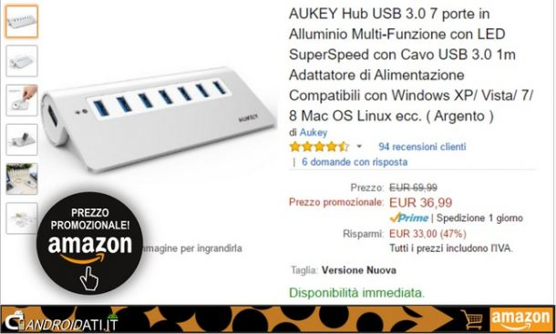 Aukey Hub USB 3.0 7 porte in offerta su Amazon