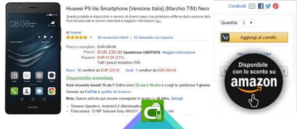 Huawei P9 lite: Offerta Amazon
